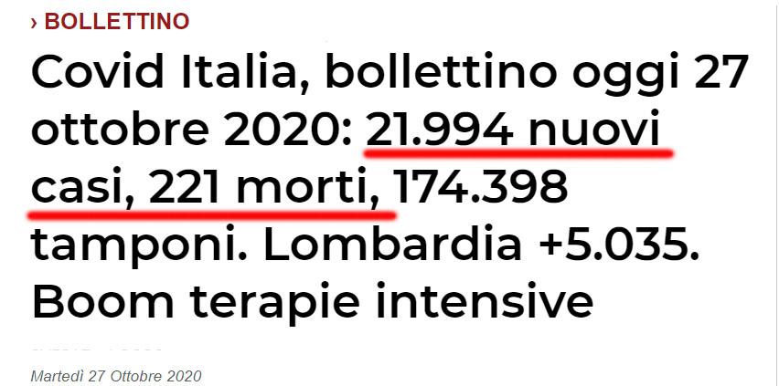 bilant covid 27 octombrie Italia